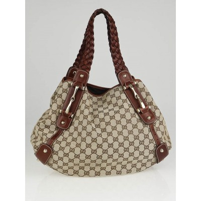 Gucci Beige/Brown GG Canvas Pelham Medium Shoulder Bag