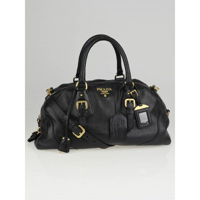 Prada Black Cervo Leather Satchel Bag