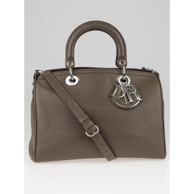 Christian Dior Dove Grey Smooth Deerskin Leather Granville Polochon Bag