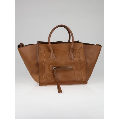 Celine Natural Calfskin Leather Small Phantom Luggage Tote Bag
