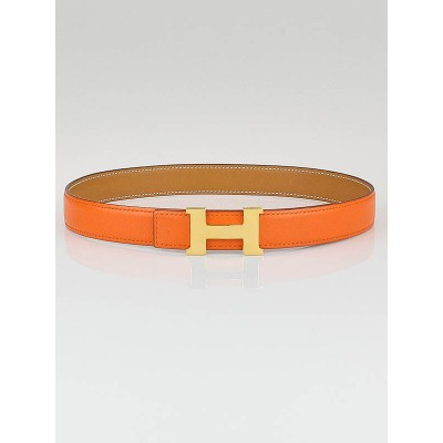 Hermes 24mm Orange/Gold Box Leather Gold Plated Constance H Belt Size 65