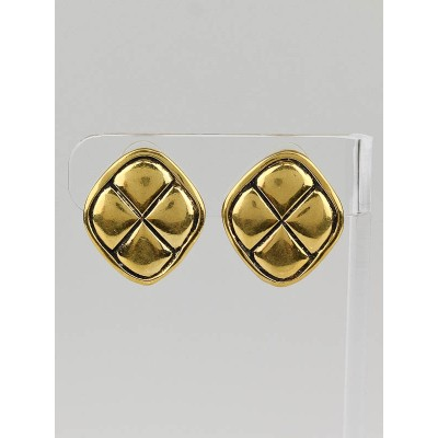 Chanel Vintage Goldtone Quilted Square Clip-On Earrings