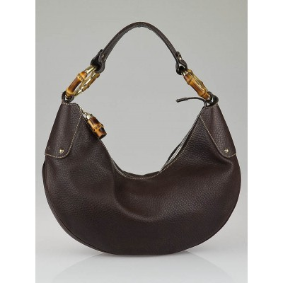 Gucci Brown Pebbled Leather Medium Bamboo Hobo Bag