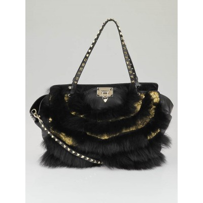 Valentino Black Leather Fur and Sequin Rockstud Trapeze Tote Bag
