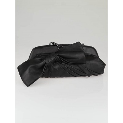 Valentino Black Nappa Leather Oversized Bow Clutch Bag