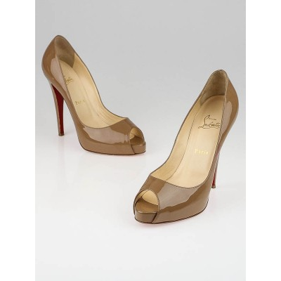 Christian Louboutin Beige Patent Leather Very Prive 120 Peep Toe Pumps Size 9.5/40