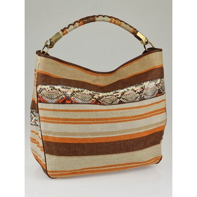 Yves Saint Laurent Orange Multicolor Striped Canvas and Python Large Roady Bag
