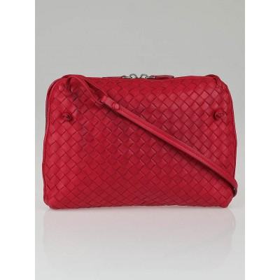 Bottega Veneta Fuchsia Intrecciato Woven Nappa Leather Crossbody Bag