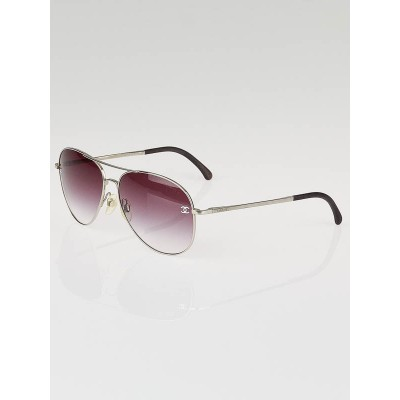 Chanel Silver Metal Frame Gradient Tint CC Aviator Sunglasses-