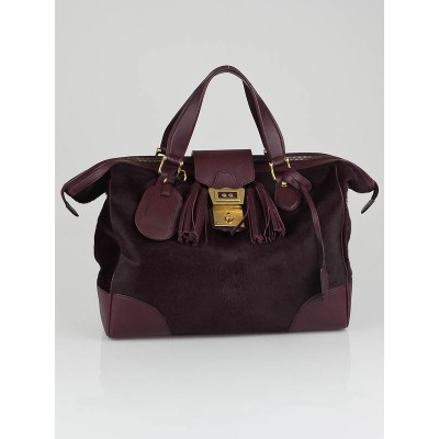 Gucci Purple Pony Hair and Leather GG Satchel Bag