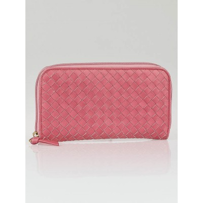 Bottega Veneta Quarzo Intrecciato Woven Nappa Leather Zip Around Wallet