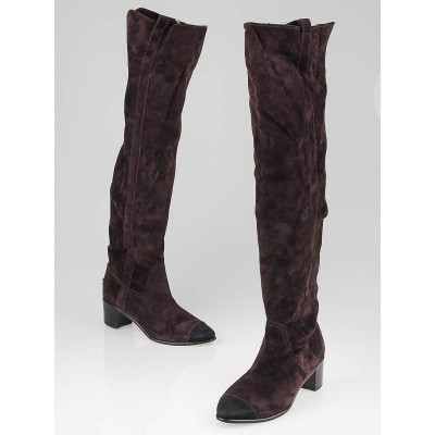 Chanel Burgundy Suede Cap Toe Over the Knee Boots Size 6/36.5
