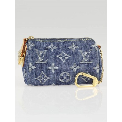 Louis Vuitton Blue Monogram Denim Speedy PM Pochette Clefs