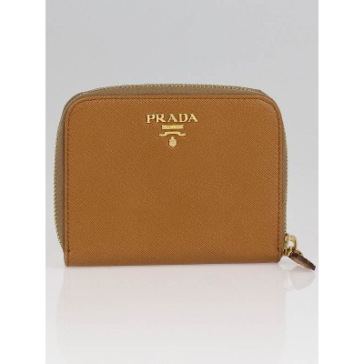 Prada Caramel Saffiano Metal Leather Compact Wallet 1M0605