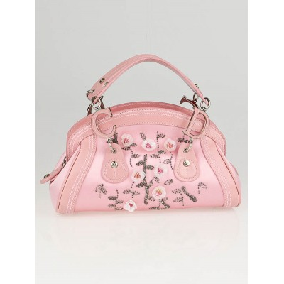 Christian Dior Pink Satin Flower Beaded Small Detective Satchel Bag