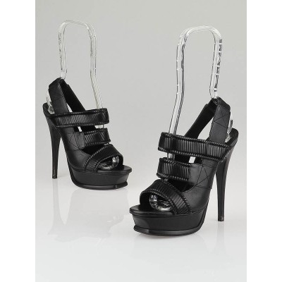 Yves Saint Laurent Black Leather Straps 105 Platform Sandals Size 5.5/36