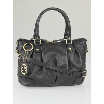 Gucci Black Guccissima Leather Medium Sukey Top Handle Bag