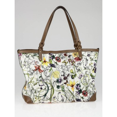 Gucci Multicolor Floral Canvas Craft Tote Bag