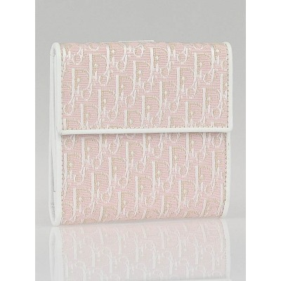 Christian Dior Pink Diorissimo Canvas Compact Wallet