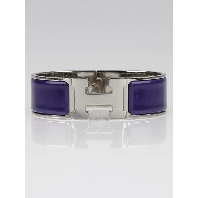 Hermes Purple Enamel Palladium Plated Clic H GM Narrow Bracelet