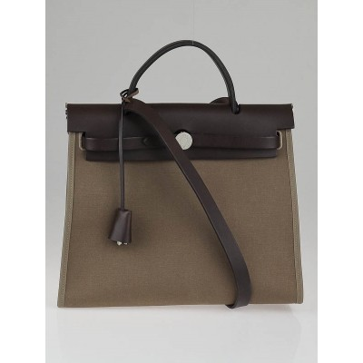 Hermes Etoupe/Ebene Canvas and Leather Herbag Zip PM Bag