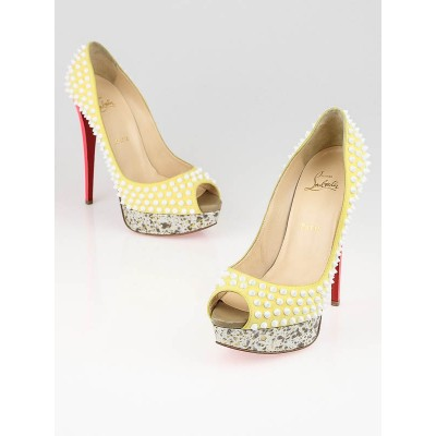 Christian Louboutin Yellow Version Craie Lady Peep Spikes 150 Pumps Size 9/39.5
