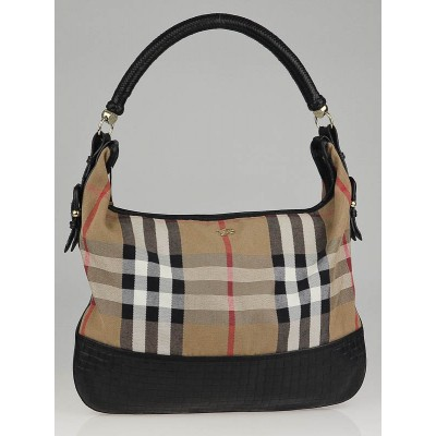 Burberry House Check Canvas and Black Woven Leather Shoulder Bag