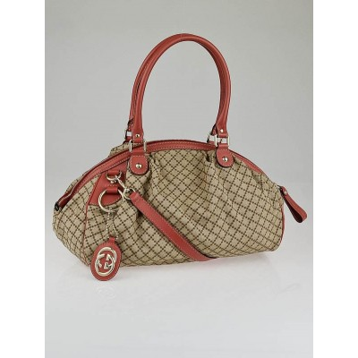 Gucci Beige/Pink Diamante Canvas Sukey Medium Boston Bag