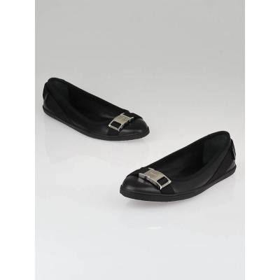 Gucci Black Leather Buckle Ballet Flats Size 6.5/37