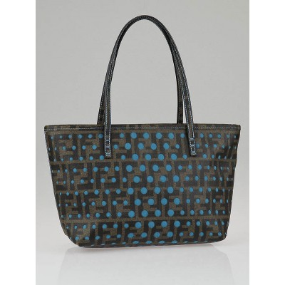Fendi Tobacco Zucca Print Perforated Spalmati Small Roll Tote Bag
