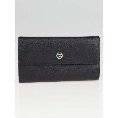 Chanel Black Leather CC Long Flap Wallet