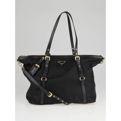 Prada Black Tessuto Nylon and Saffiano Leather Tote Bag BR4253