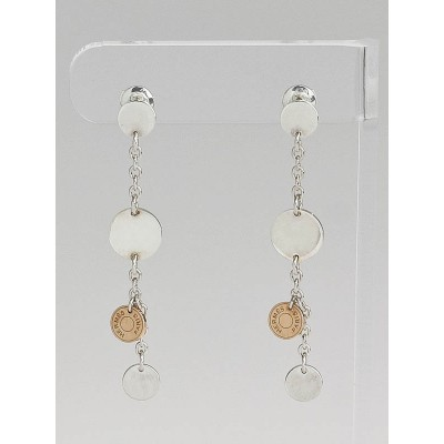 Hermes Sterling Silver and 18k Rose Gold Confettis Drop Earrings