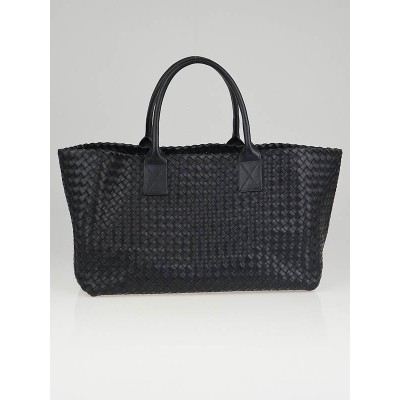 Bottega Veneta Midnight Blue Intrecciato Woven Nappa Leather Medium Cabat Tote Bag