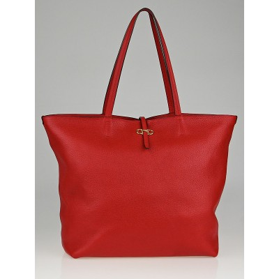 Salvatore Ferragamo Red Calfskin Leather Gina Tote Bag