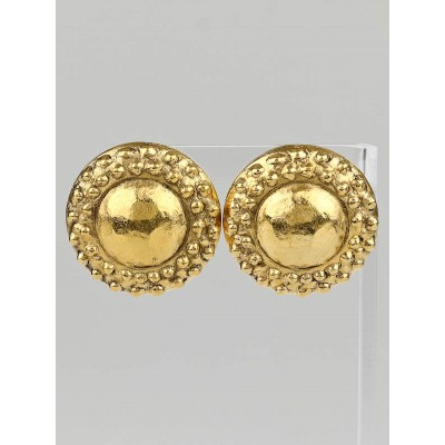 Chanel Vintage Goldtone Metal Round Disc Clip-On Earrings