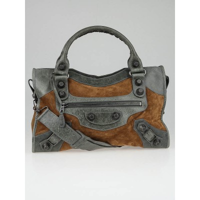 Balenciaga Grey Chevre Leather Brown Suede Giant 21 Pewter Motorcycle City Bag