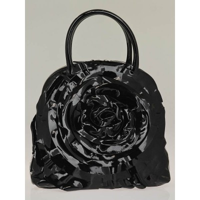 Valentino Black Patent Leather Petale Dome Bag