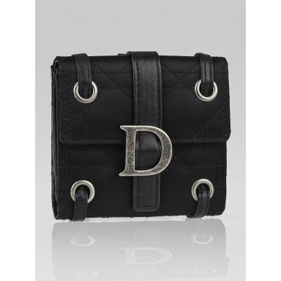 Christian Dior Black Nylon Cannage Quilted Compact Wallet