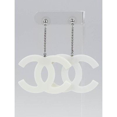 Chanel White Resin Large CC Drop Earrings