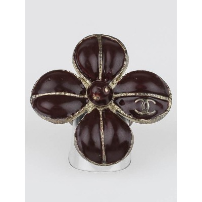 Chanel Brown/Silver Four Leaf Clover CC Cocktail Ring Size 6