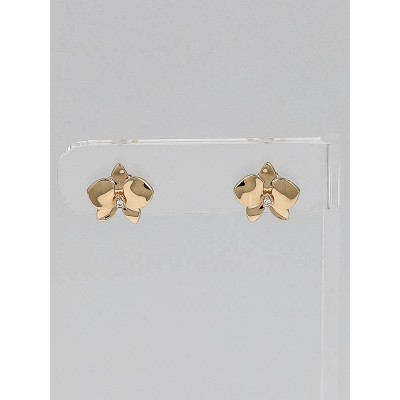 Cartier 18k Pink Gold and Diamond Caresse D'Orchidees Par Cartier Stud Earrings