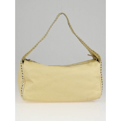 Miu Miu Yellow Leather Studded Shoulder Bag