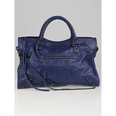 Balenciaga Blue Mineral Lambskin Leather Motorcycle City Bag