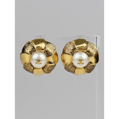 Chanel Gold and Faux Pearl Camellia CC Clip-On Earrings