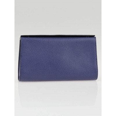 Hermes Bleu Brighton Chevre Leather Karo PM Pouch