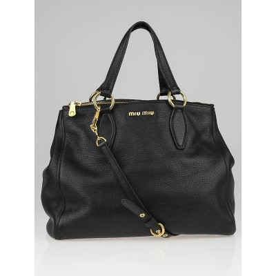 Miu Miu Black Vitello Caribu Leather Tote Bag RN0620