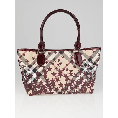 Burberry Berry Patent Leather Nova Printer Stars Coated Canvas Nickie Medium Landscape Tote Bag