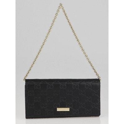 Gucci Black Guccissima Leather Wallet-Chain Evening Bag