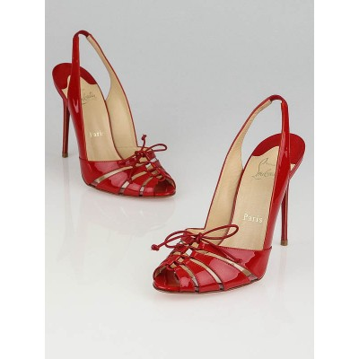 Christian Louboutin Rouge Patent Leather Corsetica 100 Slingback Pumps Size 7.5/38